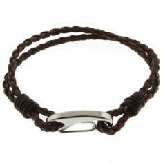 "Men's 8"" Brown Leather Bracelet With Stainless Steel Clasp"