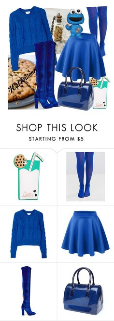 """Cookie Monster"" by psyhcopanda73 ❤ liked on Polyvore featuring Lolli Swim, Gipsy, DKNY, Aquazzura, halloweencostume and DIYHalloween"