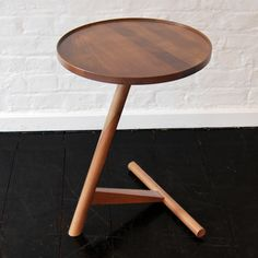 The Calvo Side Table Walnut by Lee Kirkbride is a sylish Scandinavian design that has a tilted stem and 3 point base Cool Tables, Small Tables, End Tables, Wood Furniture, Modern Furniture, Furniture Design, Interior Modern, Sofa Side Table, Corner Table