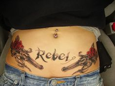 rebel flag tattoo designs for girls | Rebel Tattoo On Waist