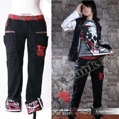 Black Emo Gothic Punk Rock Clothing Pants for Men Women