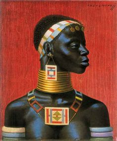 Tretchikoff 'Ndebele Woman' New art prints are printed under the supervision of the Tretchikoff family, using the finest quality inks & art papers Black Women Art, Black Art, Afrique Art, African Paintings, South African Artists, Vintage Art Prints, Afro Art, African American Art, African Culture