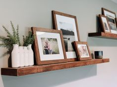 Creating + Styling Photo Displays, including ledges and shelves, on empty walls in your home Picture Frame Shelves, Frame Shelf, Wall Shelves, Picture Ledge, Shelving Display, Picture Walls, Display Wall, Photo Walls, Living Room Inspiration