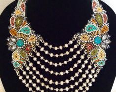 Bead Embroidery Necklace with Rochaille Fringe by perlinibella