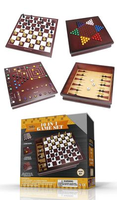 Premium Wood Cabinet 10 Game Set is all your favorite games in one great package! The lid has a checkers/chess board on one side and a Chinese checkers board on the other. The box is lined with a Backgammon board, or flip it over to reveal the mill, Tic-Tac-Toe, Mind Magic, Mancala, Roll-Em and Insanity boards.