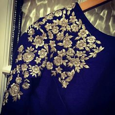 Royal blue floral design hand zardosi work Designer wedding saree lehenga blouses To inquire whatsapp 918888328116 or ethnicdiagmailcom 2 Kurta Designs, Blouse Designs Silk, Blouse Patterns, Embroidery Fashion, Flower Embroidery, Embroidery Designs, Work Blouse, Indian Designer Wear, Indian Wear
