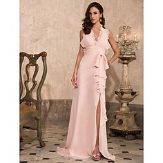 Sheath/Column Halter Sweep/Brush Train Chiffon Evening Dress  – USD $ 199.99