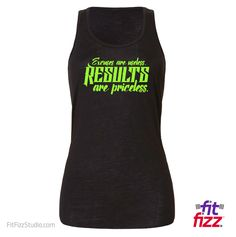 FitFizz Women's Tank:  EXCUSES ARE USELESS.  RESULTS ARE PRICELESS.  Gym Workout Tank Top // Find lots more handmade motivational items for fitness, powerlifting, strongman, Crossfit, running, bodybuilding, weightlifting and more at https://fitfizzstudio.com/