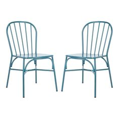Safavieh Everleigh Set Of 2 Matte Navy Blue Stackable Metal Stationary Dining Chair(S) With Solid Seat Patio Dining Chairs, Dining Chair Set, Side Chairs, Outdoor Chairs, Outdoor Decor, Metal Patio Furniture, Outdoor Cafe, Bar Stools, Stationary