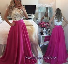 Beautiful white lace rose chiffon long prom dress, homecoming dress 2016, prom dresses for teens #coniefox #2016prom