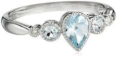 10k White Gold Pear Shaped Aquamarine 3-Stone Ring with Diamond-Accent, Size 7 Amazon Curated Collection http://www.amazon.com/dp/B0010XRLIK/ref=cm_sw_r_pi_dp_1c4Hub0XRA185