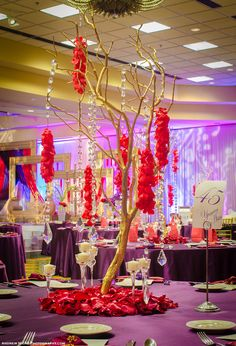 Gold Manzanita Branches, Red and Purple, Plum Linens, Reception Centerpieces, Suhaag Garden