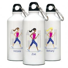 Unique personalized, aluminum, runner themed water bottle with clip and free personalizing. Our sports themed water bottles will make a great gift for bridesmaids,sister,mother a friend or any woman on your list. Great Christmas Gifts, Christmas Themes, Great Gifts, Aluminum Water Bottles, Custom Water Bottles, Personalized Fathers Day Gifts, Engraved Gifts, Running Gifts, Gifts For Runners
