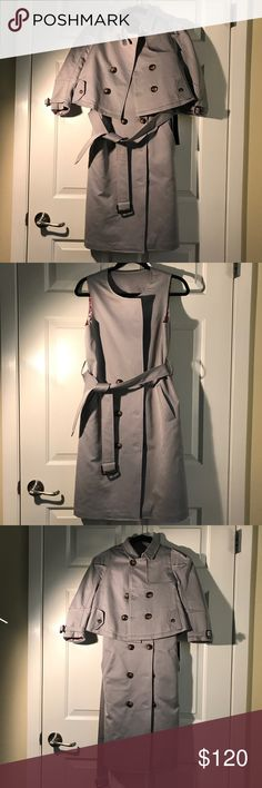 """Trench coat + Detachable blazer + Vest ** No PS /filter • Color is silver light grey • Unique design with detachable blazer. Vest looks great when worn separately with belt. Trench coat+vest+blazer= 3 pieces • Size S. I'm 5'6"""" 120lb. • Worn once. This is a very lovely piece AND functional. I'm over office-lady style and more into athleisure these days so want to sell this. I loved it at first sight:) Jackets & Coats"""