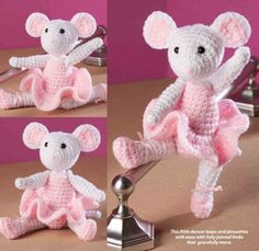 W295 Crochet PATTERN ONLY Ballerina Mouse Toy Doll Pattern | BeadedBundles - Craft Supplies on ArtFire