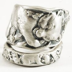 Teddy Bear Spoon Ring with Pine Cones in Sterling Silver Spoon Ring, Handmade & Adjustable to Your Size (5025)