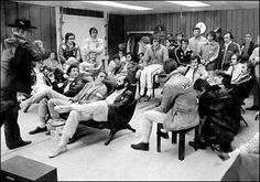 The drivers' meeting for what I believe to be the 1972 USGP at Watkins Glen. How many drivers in the room can you name?