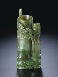 A SPINACH JADE 'DOUBLE BAMBOO' VASE  INCISEDMARK AND PERIOD OF QIANLONG