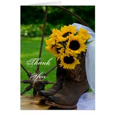 Country Wedding Thank You Cards Rustic Sunflowers Cowboy Boots Wedding Thank You Card