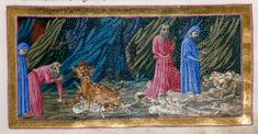 Virgil, Dante, and Cerberus - Dante Alighieri Title	Divina Commedia Origin	Italy, N. (Tuscany, Siena?) Date	between 1444 and c. 1450 Language	Italian    http://www.bl.uk/catalogues/illuminatedmanuscripts/record.asp?MSID=6468&CollID=58&NStart=36