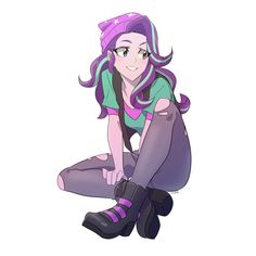 #1800311 - artist:rustyartist, beanie, clothes, equestria girls, female, hat, human, jeans, pants, ripped pants, safe, simple background, sitting, smiling, solo, starlight glimmer, white background - Derpibooru - My Little Pony: Friendship is Magic Imageboard My Little Pony Drawing, Mlp My Little Pony, My Little Pony Friendship, My Little Pony Characters, Mlp Characters, Human Mlp, Character Art, Character Design, Imagenes My Little Pony