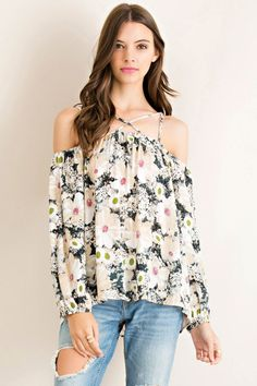 Floral Print Off Shoulder Top with Strap Details – Classic Paper Doll