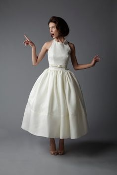 """""""Cecile"""", tea length gown with halter neck...Audrey Hepburn... by Look Darling"""