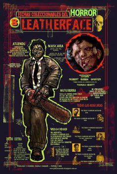 Ficha infográfica homenaje a The texas Chainsaw Massacre. Dibujos y diseños míos.