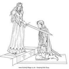 Medieval Village Coloring Pages   Knighted colouring page, knight colouring page