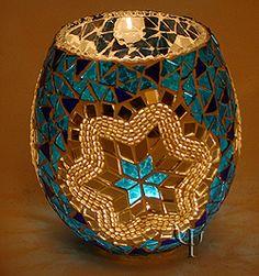 Turkish Lamp- Something cute and beautiful Más Turkish Lamps, Moroccan Lamp, Mosaic Designs, Mosaic Patterns, Mosaic Vase, Mosaic Madness, Candle Holder Decor, Mosaic Projects, Tea Light Holder