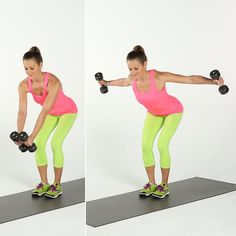 You'll feel this one in your shoulders and upper back.  Holding a dumbbell in each hand, stand with the knees slightly bent. Keeping your back flat, bend forward at the hip joint.  Exhale and lift both arms to the side, maintaining a slight bend in the elbows and squeezing your shoulder blades together. Then, with control, lower the dumbbells back toward the ground. This completes one rep. Complete two to three sets of 10 to 12 reps.  Source: POPSUGAR Studios
