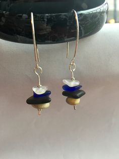 Sea Glass and Stone stacked Silver earrings in blue, green, and frosted glass. by AdaraSeleneJewelry on Etsy