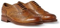 $405, Brown Leather Brogues: Stanley Leather Wingtip Brogues by Grenson. Sold by MR PORTER. Click for more info: http://lookastic.com/men/shop_items/7919/redirect