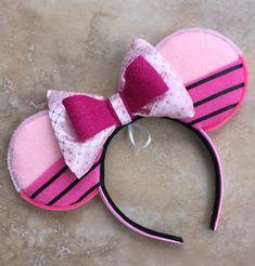 Piglet inspired Minnie Ears by MerMadeCreationsCo on Etsy Christmas Travel, Disney Christmas, Mickey Mouse Ears Headband, Minnie Mouse, Disney Ears, Ear Headbands, Disneybound, Pink Satin, Black Stripes