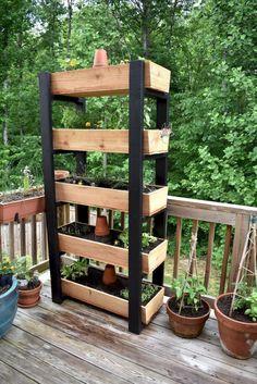 Vertical Garden Planter Looking for a vertical garden to save space, . - Garten - Home Herb Garden Design, Vegetable Garden Design, Garden Ideas, Vertical Garden Planters, Planter Garden, Vertical Gardens, Pallet Planters, Tiered Garden, Raised Planter