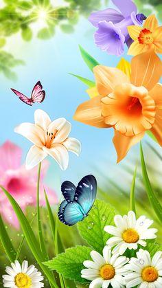 Butterfly Flowers, Butterflies, Open Fonts, Flower Phone Wallpaper, Creative Words, Cute Wallpapers, Ann, Spring, Artist