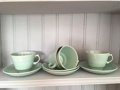 Four Beryl Woods Ware Teacups and Saucers