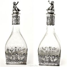 Antique Sterling Hanau Germany Etched Table Decanter Storck & Sinsheimer. #FrenchGardenHouse