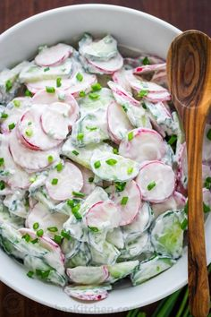 This creamy Cucumber Radish Salad Recipe wins on all fronts. It has a crunchy crisp texture and is creamy good. This is a classic salad and one of our all-time favorite radish recipes. Did you know radishes are a superfood? Make this radish salad once and Salad Recipes Video, Pasta Salad Recipes, Simple Salad Recipes, Easy Salads, Summer Salads, Veggie Dishes, Vegetable Recipes, Veggie Salads Recipes, Radish Salad