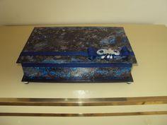 Caixa de jóias técnica de pintura mármore italiano azul e prata.
