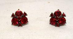 Vintage 1960's Red Rhineston ClipOn Earrings by LauralCreek, $10.99