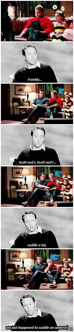 """Scott and Alex recently took their onscreen friendship a little bit further with this cuddling scene"" # MCDANNO"