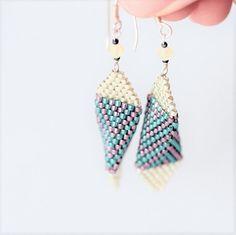 Items similar to Beaded triangle earrings - metallic blue and violet beaded earrings, Miyuki beads and Swarovski crystals, chevron earrings (ID: on Etsy Beaded Earrings, Silver Earrings, Beaded Jewelry, Handmade Jewellery, Earrings Handmade, Unique Jewelry, Craft Jewelry, Jewelry Shop, Triangle Earrings