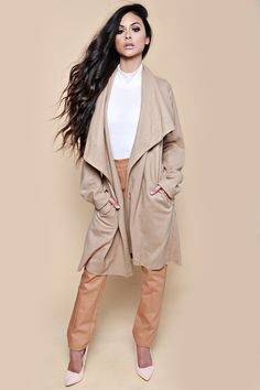 Camel Waterfall Drape Funnel Neck Coat