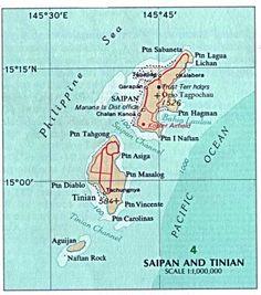 Tinian es una de las tres islas principales de la Mancomunidad de las Islas Marianas del Norte, actualmente bajo soberanía estadounidense. Tiene una extensión de 101 km² y su principal localidad es el pueblo de San José. A ocho kilómetros en dirección noreste se encuentra la vecina isla de Saipán, que acoge la capital del archipiélago, y a siete la deshabitada Aguijan. Saipan-Tinian.jpg (378×428)