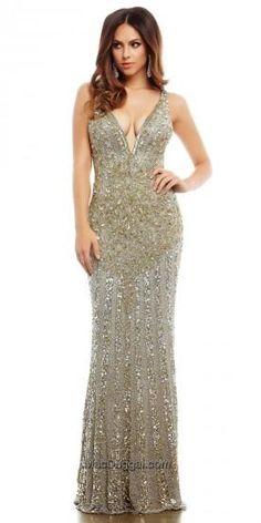 Beaded V-Neck Multi-Strap Back Prom Dress by Mac Duggal #edressme