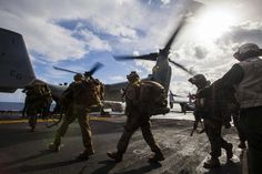 U.S. Marines and U.S. Navy Sailors with Battalion Landing Team 1st Battalion, 6th Marine Regiment, 22nd Marine Expeditionary Unit (MEU), load onto an MV-22 Osprey aircraft aboard the USS Bataan (LHD 5) for a bilateral exercise with the Hellenic Army in Greece  #USMC #USMarineCorps