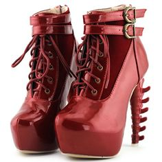 Show Story Lace Up Buckle High-top Bone High Heel Platform Ankle Boots,LF40601 List Price: $79.99 On Sale: $35.99