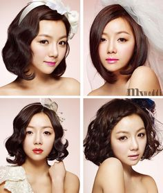4 hairstyles for asian bride. Curly and wavy hairstyles. Wedding Hairstyle