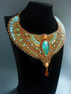 Cleopatra -Necklace Bead Embroidery Art.. $585.00, via Etsy.